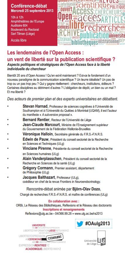 Rentrée académique 2013 ULg : Les lendemains de l'Open Access